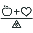 apple + heart divided by dollar sign